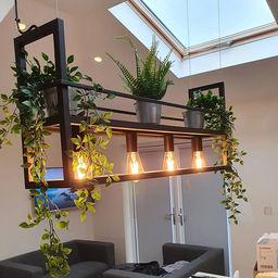 Industriële hanglamp met 4 fittingen, voorzien van rek