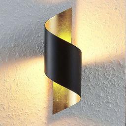 Moderne wandlamp, zwart met goud, incl. LED module