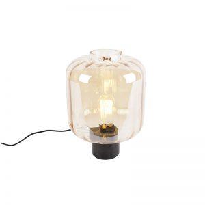 Design tafellamp zwart met amber glas