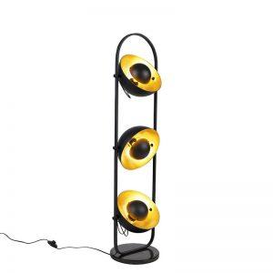 Design vloerlamp met 3 gouden kappen Emilienne Novo